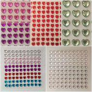 100 x 6mm Self Adhesive Rhinestone Hearts
