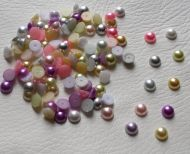 100 x 7mm Flat Back Pearls, Half Round, Embellishments, Mixed, Various Colours,