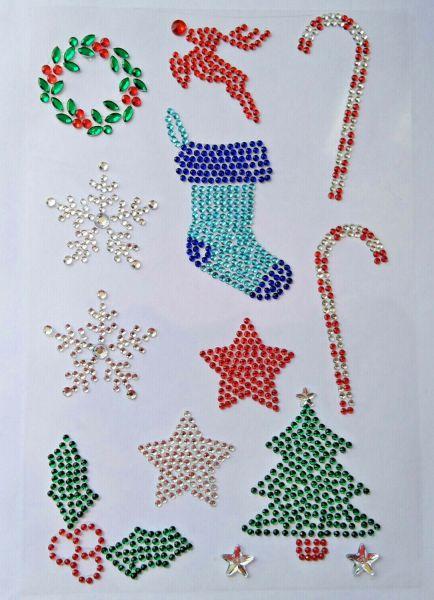 13 x Diamante Rhinestone Christmas Stickers, Self Adhesive Snowflake, Holly, etc